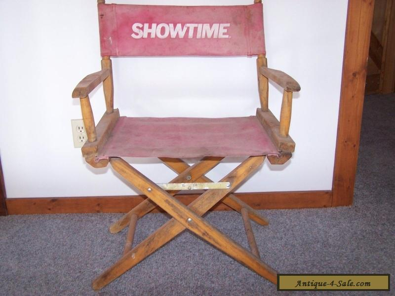 Vintage Old Folding Wood Directors Chair With Cloth (SHOWTIME) For Sale