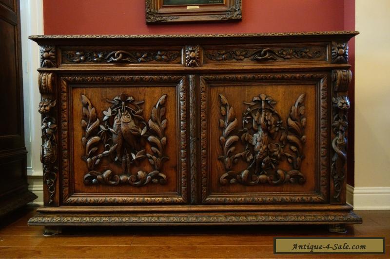 Antique French Carved Oak Hunt Cabinet Renaissance