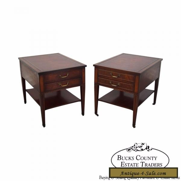 Vintage Pair of 1940s Mahogany Inlaid Leather Top End Tables for