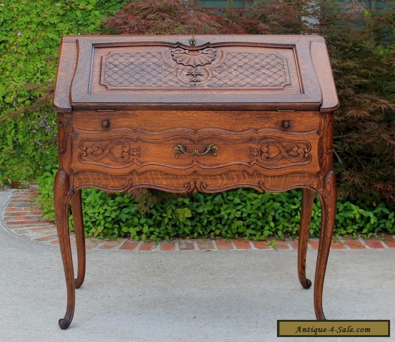 Antique french oak louis xv fall front writing desk bureau for Bureau for sale