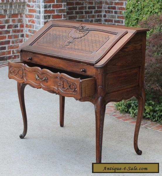 ... Antique French Oak Louis XV Fall Front Writing Desk Bureau Secretary  PETITE for Sale - Antique French Oak Louis XV Fall Front Writing Desk Bureau Secretary