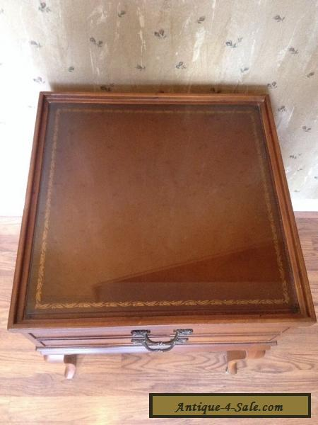 Vintage French Country Glass Covered Leather Top End Table With Deep Drawer  For Sale ...