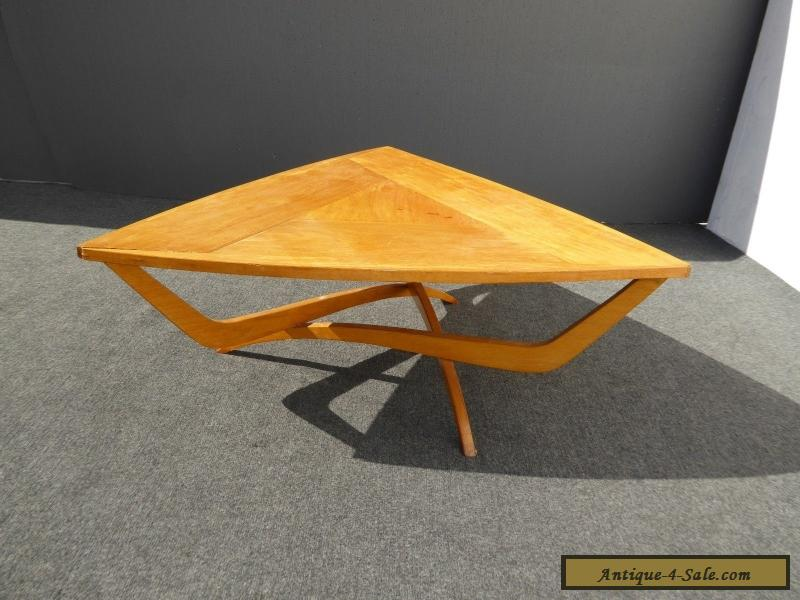 Triangle Coffee Table Wood.Vintage Danish Mid Century Modern Art Deco Solid Wood Triangle Coffee Table