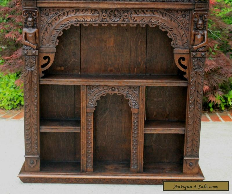 Antique English Oak Gothic Renaissance Wall Shelf Display