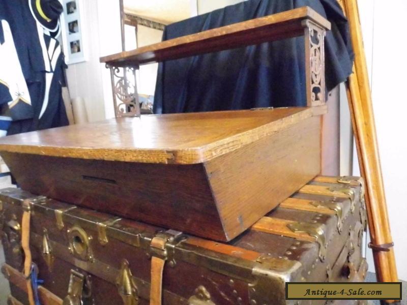 Lovely Antique Oak Table Top Agent Writing Desk Metropolitan Life Insurance For