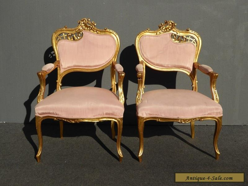 Pair Of Unique Vintage French Rococo Carved Wood Gold ACCENT CHAIRS Louis  XV For Sale