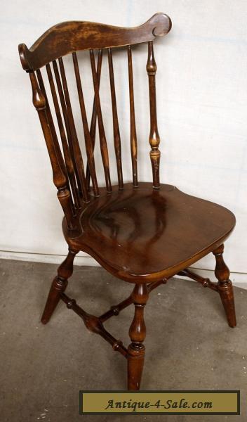 Antique Vintage Windsor Solid Wood Wooden Spindle Back