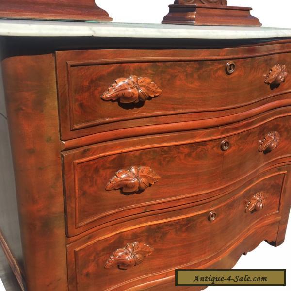 Antique Eastlake Victorian Furniture Carved Walnut Marble Top Dresser W Mirror For