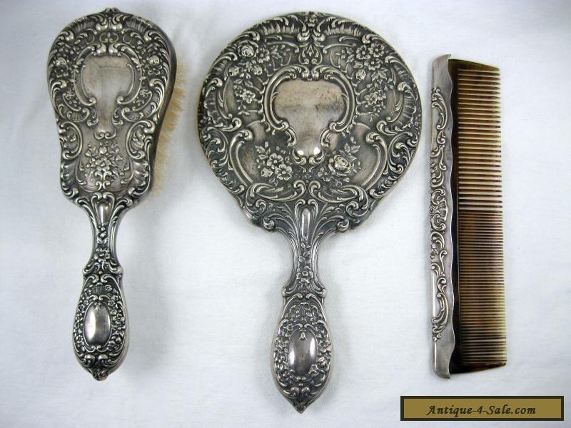 Vintage Gorham Sterling Silver Vanity Dresser Set Mirror