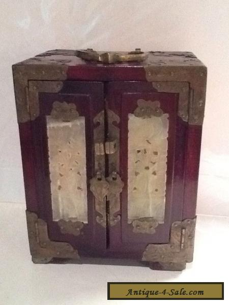 Vintage Antique Reddish Brown Wood And Brass Chinese