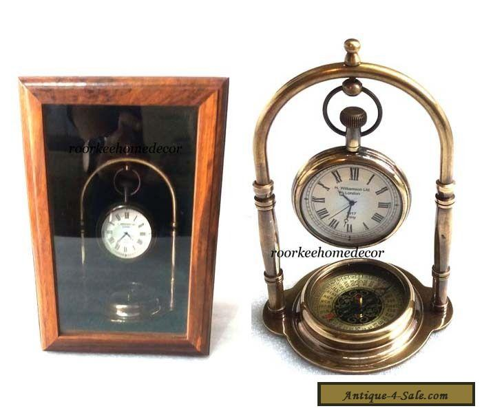 nautical vintage replica brass hanging clock with mirror. Black Bedroom Furniture Sets. Home Design Ideas