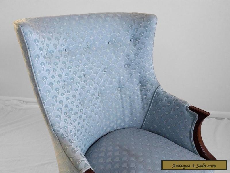 2 Antique 1940s Mahogany Petite Ladies Wing Chairs Regency Art Deco Mid  Century For Sale ...