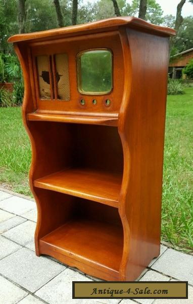 VINTAGE ANTIQUE MId Century WOOD RADIO CABINET BOOKSHELF STAND For Sale