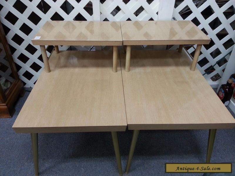 Vintage Lane Mid Century Modern 2 Tier Coffee End Tables Blonde