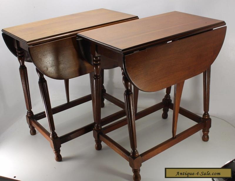 Set Of 2 Mahogany Pembroke Drop Leaf End Side Hall Tables Solid Wood Vintage For