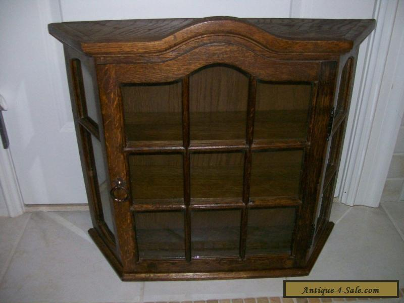 Antique Vintage All Wood Oak Large Curio Wall Display Cabinet For