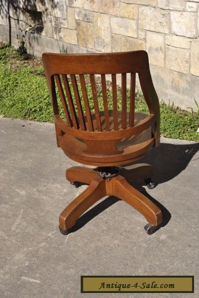 ... Vintage Milwaukee Chair Co Antique Oak Wood Swivel Desk Office Lawyer  Chair For Sale
