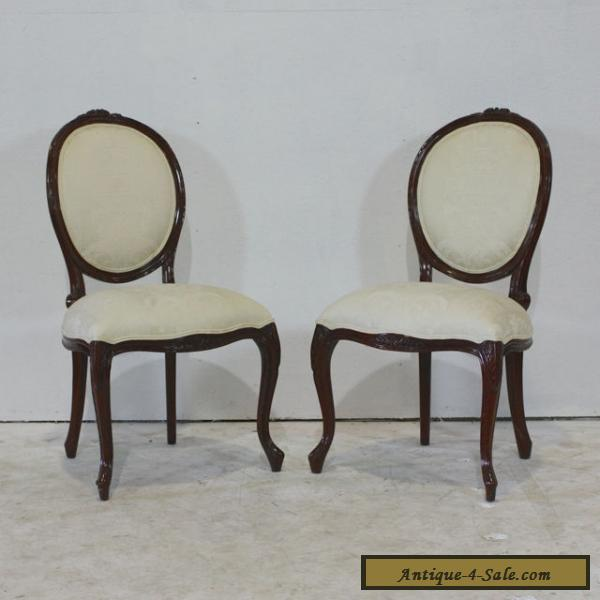 Set Of 4 Louis XV Style Dining Chairs Mahogany Wood For Sale