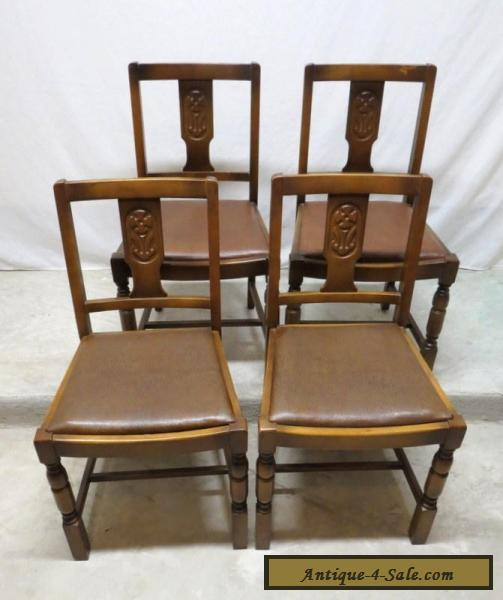 antique set 4 art deco carved golden oak dining room