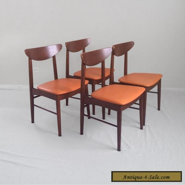 4 DANISH Modern Mid Century Walnut Side Chairs Stanley