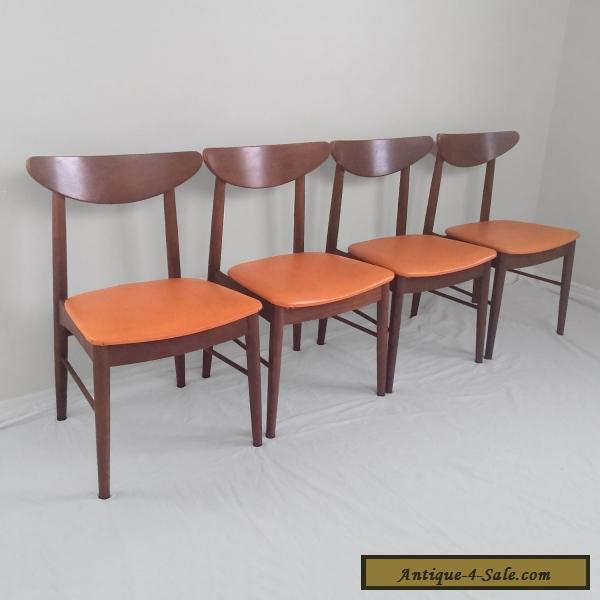 4 danish modern mid century walnut side chairs stanley for Danish modern reproduction