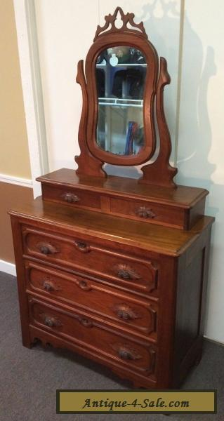 Antique Victorian Eastlake Walnut 5 Drawer Chest Dresser