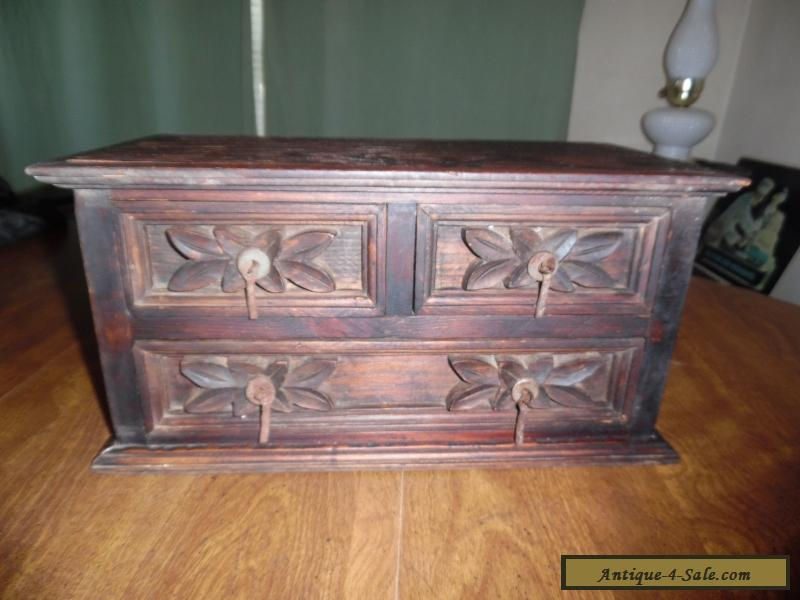 Antique Wood Box Carved Design With Drawers For Sale In