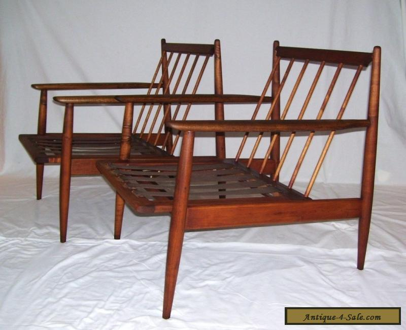 Pair Of Vintage Walnut Mid Century Modern Danish Baumritter Lounge Chairs  Dux For Sale
