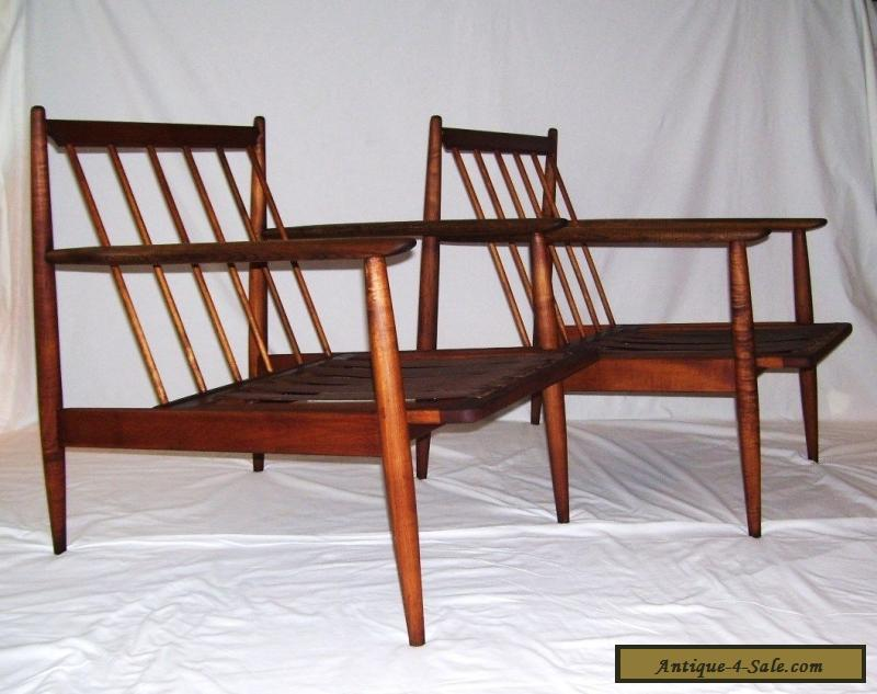 pair of vintage walnut mid century modern danish
