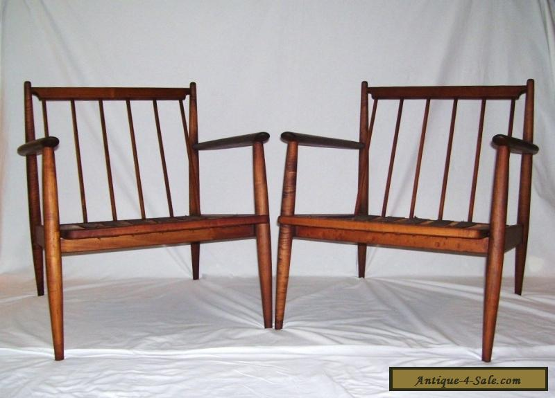 ... Pair Of Vintage Walnut Mid Century Modern Danish Baumritter Lounge  Chairs Dux For Sale