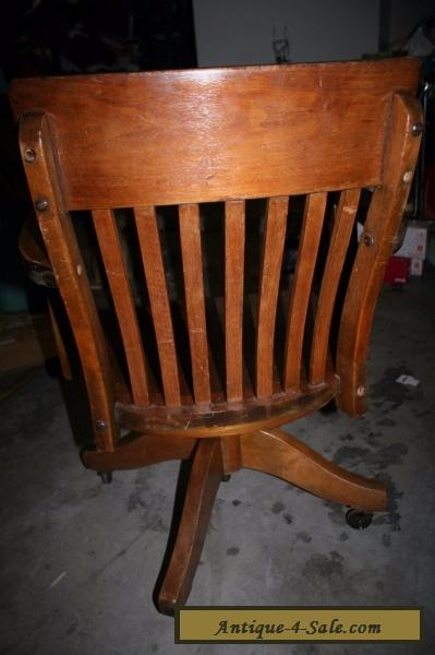 Antique Oak Wood Swivel Office Desk Chair For Sale In United States