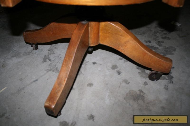 Antique Oak Wood Swivel Office Desk Chair For Sale In