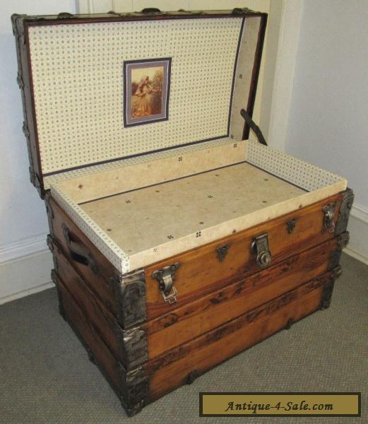 antique steamer trunk vintage victorian large flat top wooden travel chest c1890 for sale in. Black Bedroom Furniture Sets. Home Design Ideas
