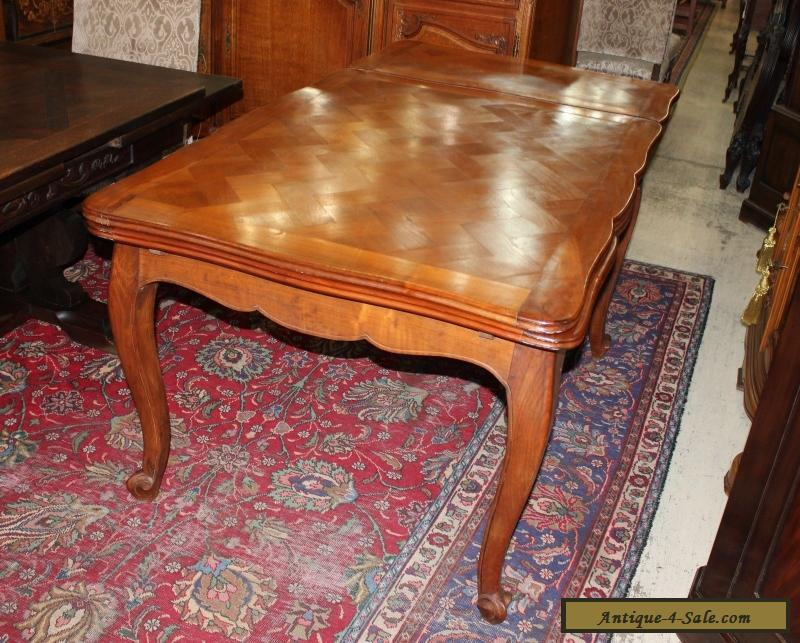 Beautiful French Antique Solid Walnut Louis XV Draw Leaf Dining Table For Sale