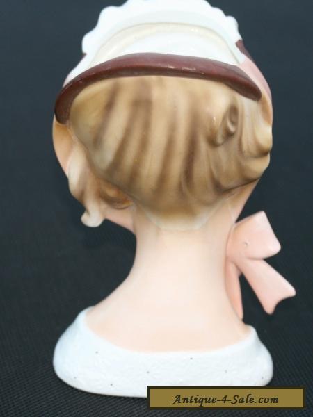 Rare Vintage Pottery Lady Head Vase Lefton 7 Inch Brinns Tv 726