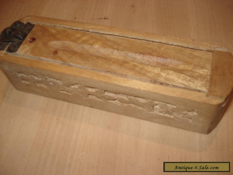 Vintage hand carved wooden pencil box for sale in united