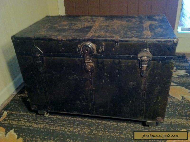 Antique Vintage Steamer Trunk Metal Amp Wood Early 1900 S