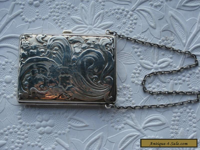 Antique Sterling Silver Victorian Calling Card Case Dance Purse W Chain For