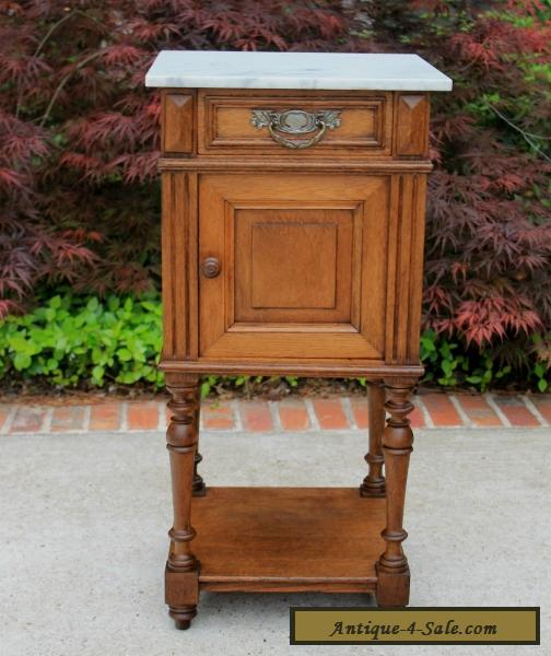 Antique French Henri Ii Oak 2 Tier Marble Top Side Cabinet End Table Nightstand For