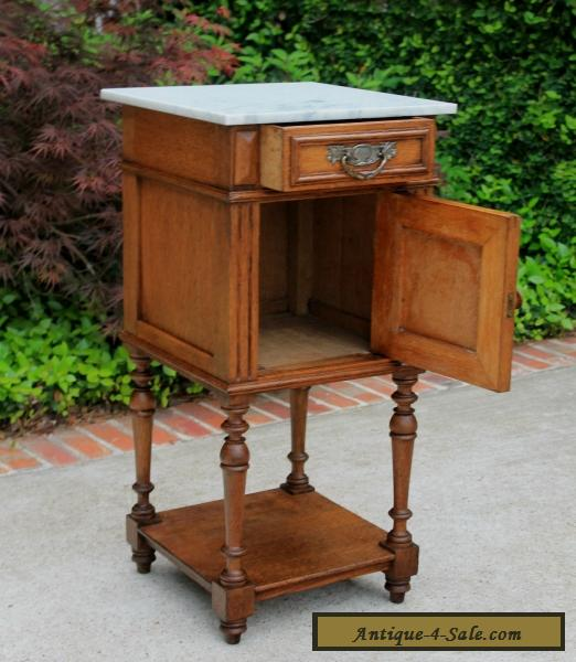 Antique French Henri II Oak 2-Tier Marble Top Side Cabinet End Table  Nightstand for ... - Antique French Henri II Oak 2-Tier Marble Top Side Cabinet End Table