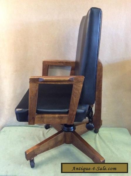 Gunlocke Mid Century Modern Danish Office Arm Chair Wood Faux Leather Vintage For