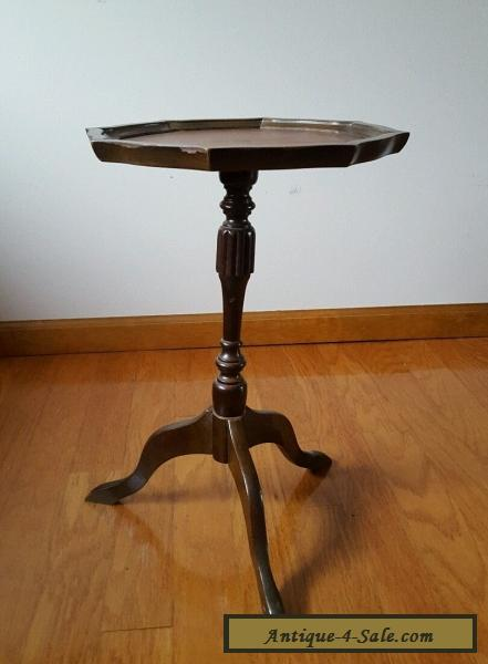 ... Vintage Leather Top Plant Stand Side End Table For Sale
