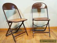 PAIR OF VINTAGE Plywood FOLDING CHAIRS with iron supports Industrial