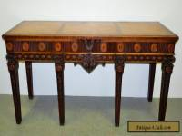 "Large 83"" Antique George III Style Heavily Carved Inlaid Mahogany Console Table"