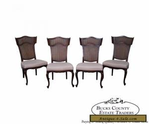 Vintage Set of 4 French Louis XV Style Winged Cane Back Dining Chairs for Sale
