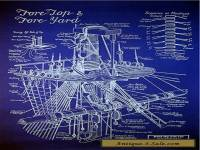 "Sailing Ship Mast & Rigging Blueprint Plan Drawing 20""x24"" (012)"
