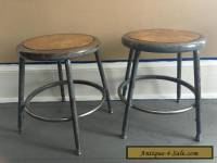 Pair of Vintage Industrial Steampunk Mid Century Modern Metal Short Shop Stools