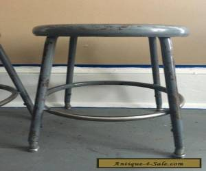 Item Pair of Vintage Industrial Steampunk Mid Century Modern Metal Short Shop Stools for Sale