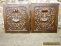 pair of antique french carved wood panels