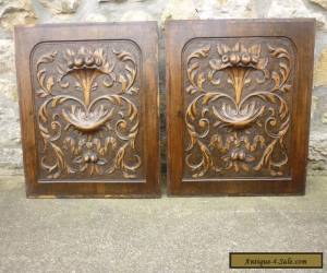 pair of antique french carved wood panels for Sale